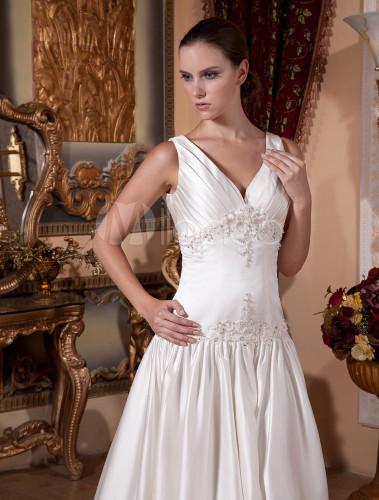 ... Slimming Ivory Satin V-neck Sleeveless A-line Wedding Dress-No.5 ... dab047ee7
