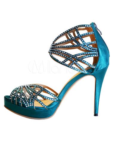 a99a4b8946a2af ... Dark Green Silk And Satin Rhinestone Stiletto Heel Rubber Sole Dress  Sandals -No.2 ...