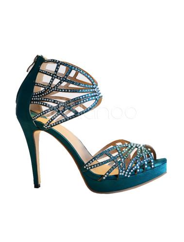 db1103c3dd7e02 ... Dark Green Silk And Satin Rhinestone Stiletto Heel Rubber Sole Dress  Sandals -No.3 ...