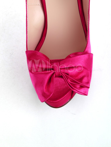 women 39 s high heel shoes pink satin bowknot peep toe