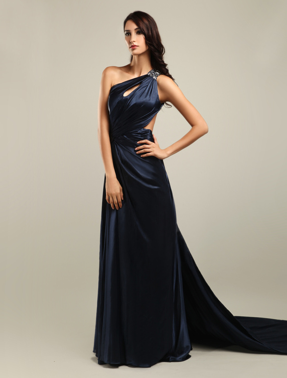 7811615b670786 Elegant Black One-Shoulder Cut Out Satin Prom Dress - Milanoo.com