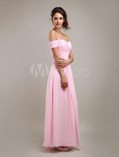 27914de2c7 ... Vestido de damas rosa de gasa de línea A con hombro caído y con escote  de ...