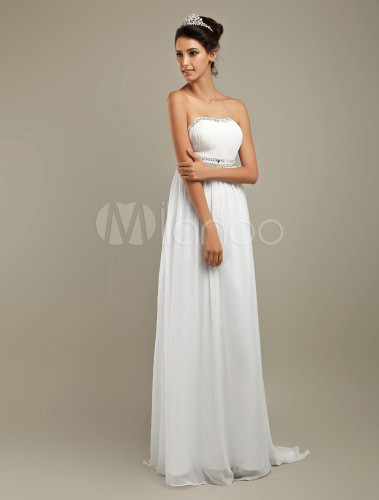 Robe longue blanche taille empire