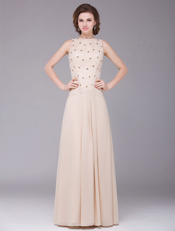 Champagne Sleeveless A Line Chiffon Mother Of The Bride
