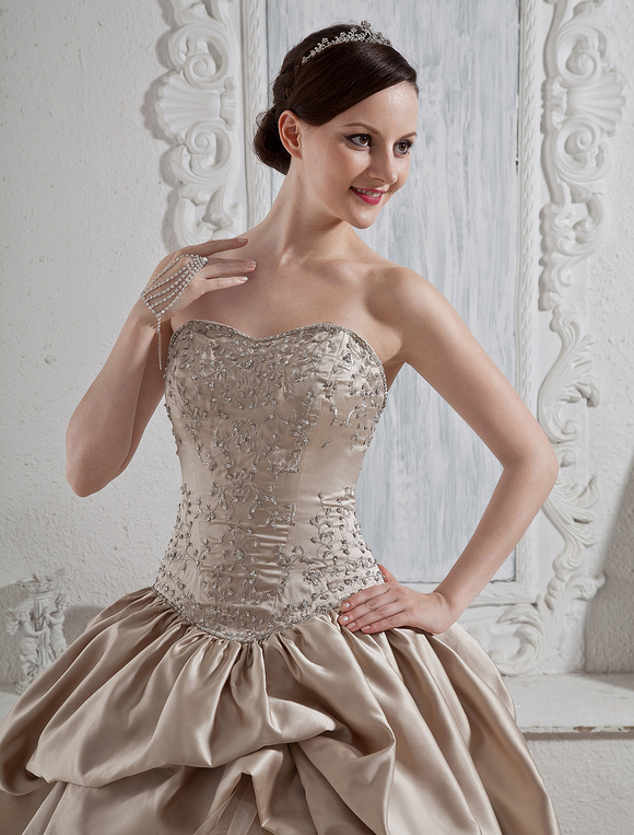 Wedding Dresses Champagne Strapless Ball Gown Bridal Dress Sequin ...