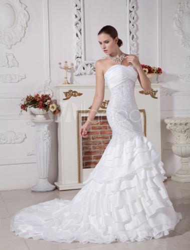 vestido de novia blanco de tafetán y de encaje estilo trompeta
