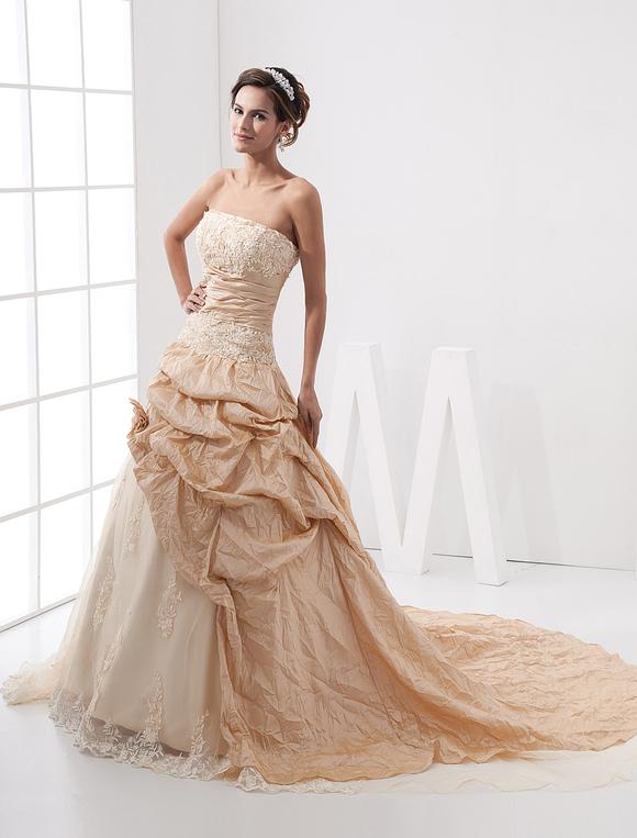 robes de mari e de champagne robes de bal bretelles dentelle appliques fleurs fronc chapelle. Black Bedroom Furniture Sets. Home Design Ideas