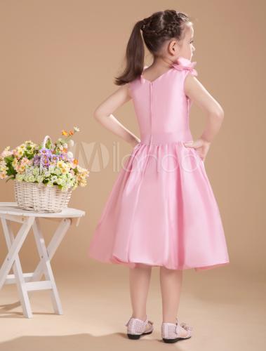 de8468dbe30cd ... Lovely Pink Taffeta V-neck Knee Length Junior Bridesmaid Dress-No.3 ...