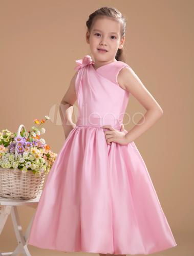 c5a75b758908d ... Lovely Pink Taffeta V-neck Knee Length Junior Bridesmaid Dress-No.4 ...