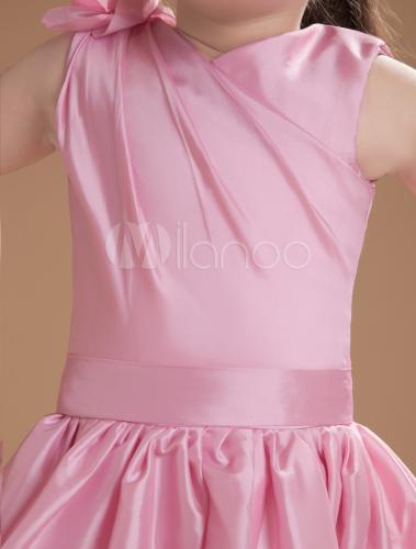 bd4125db50e4a ... Lovely Pink Taffeta V-neck Knee Length Junior Bridesmaid Dress-No.6 ...