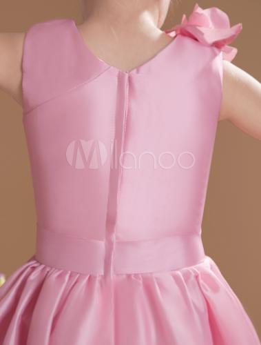 a6d1a8d3ce24b ... Lovely Pink Taffeta V-neck Knee Length Junior Bridesmaid Dress-No.7