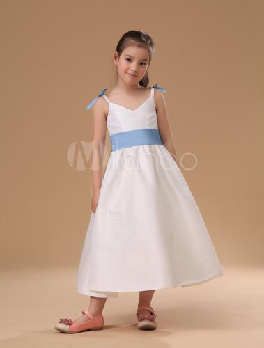 fecha de lanzamiento: fecha de lanzamiento: nueva Vestido de niña de las flores de raso blanco con faja de color azul