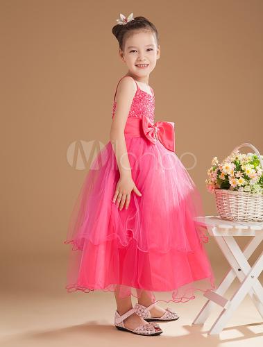 ホットピンク フラワーガールドレス チュール ビーズ リボン スパゲッティストラップ Aライン 女の子用 ページェントドレス