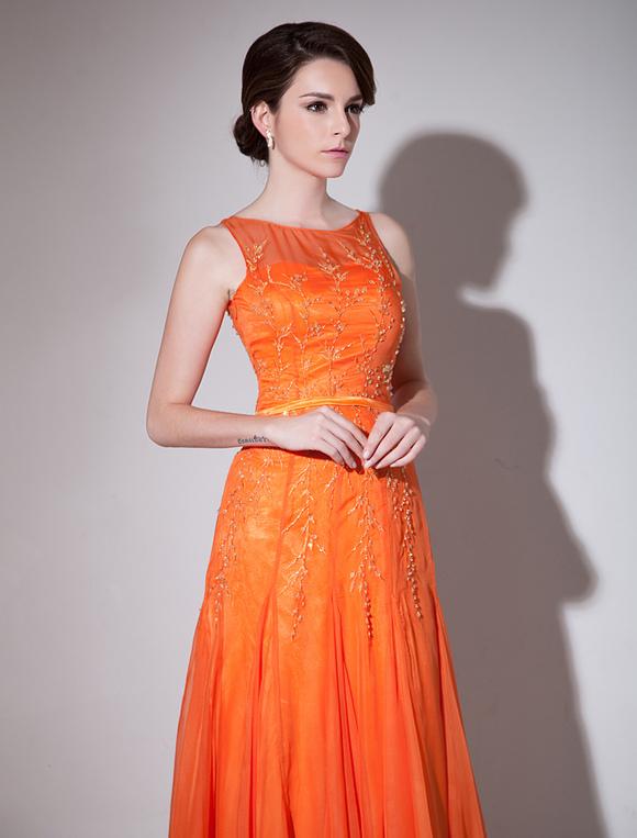 Orange Evening Dress Mesh Cut-Out Chiffon Dress Milanoo - Milanoo.com