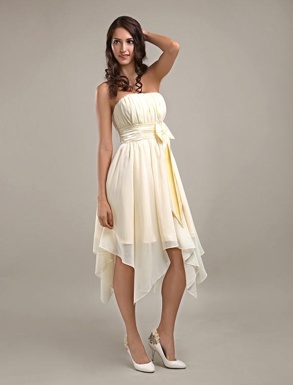 Asymmetrical Pleated Ivory Bridesmaid Dress Milanoocom