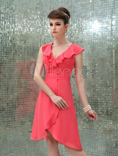 Vestido coctel color coral