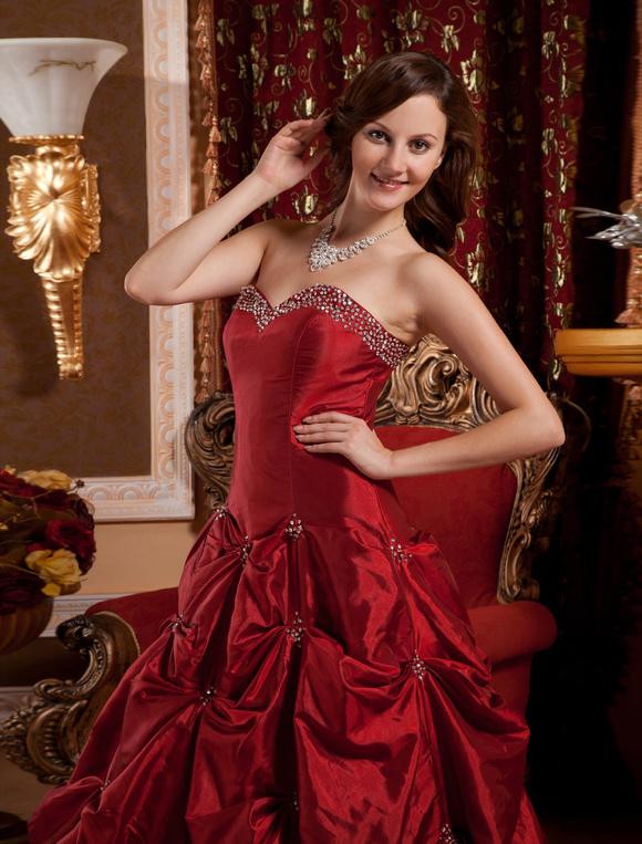 Ball Gown Burgundy Taffeta Sweetheart Neck Quinceanera