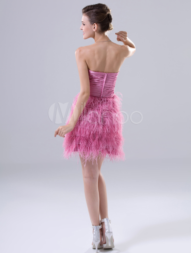 Elastische Kunstseide eng anliegendes Cocktailkleid mit trägerlosem ...