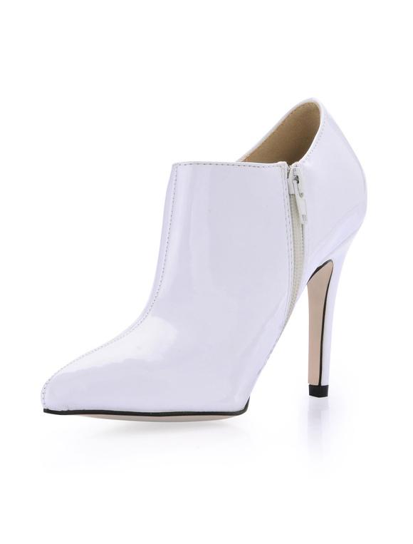 ... Boots à talons aiguilles blancs style cuir verni à bout pointu-No.3 ...