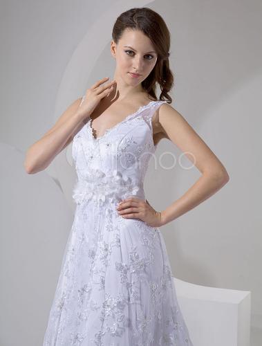 Elegant White Lace A-line V-neck Wedding Dress - Milanoo.com a50778b62