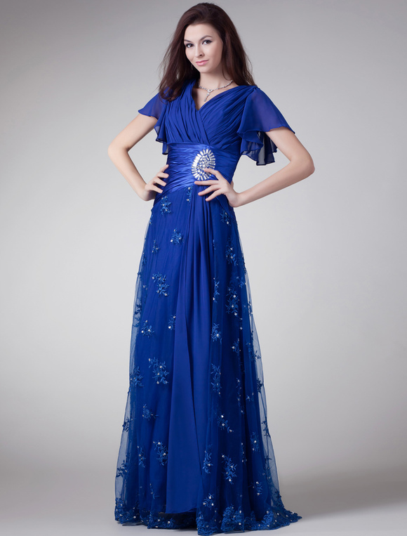 royal blue chiffon rhinestone v neck evening dress. Black Bedroom Furniture Sets. Home Design Ideas