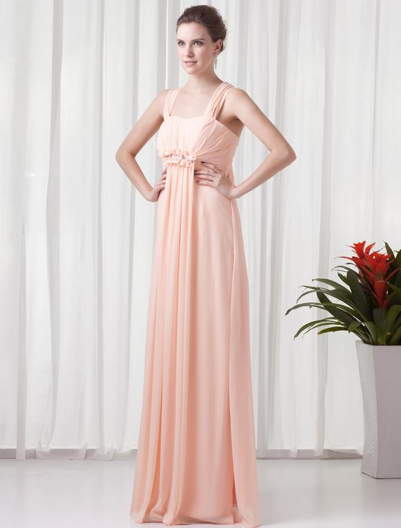 chiffon empire kleid f r hochzeit mit straps und falten in rosa bodenlang