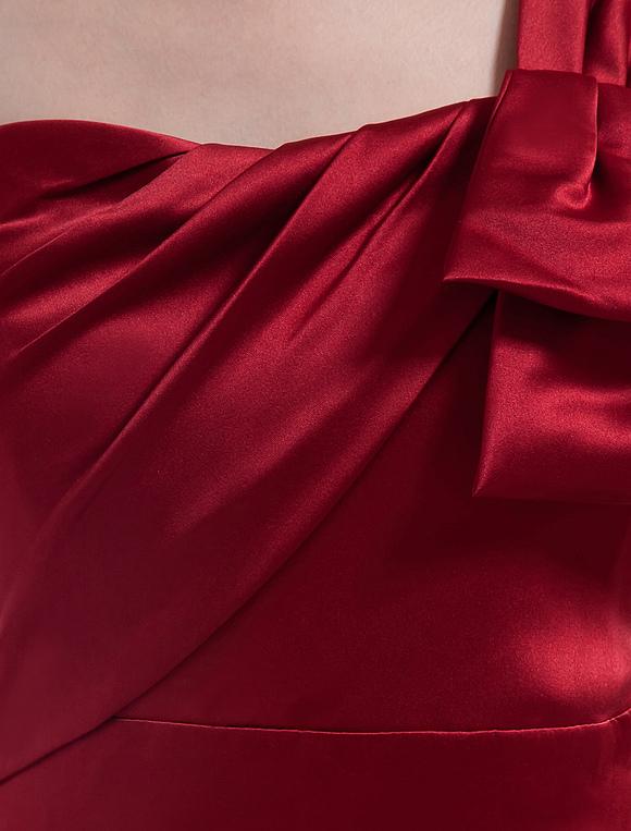 Robe demoiselle d 39 honneur a ligne bordeaux en satin une - Robe demoiselle d honneur bordeaux ...