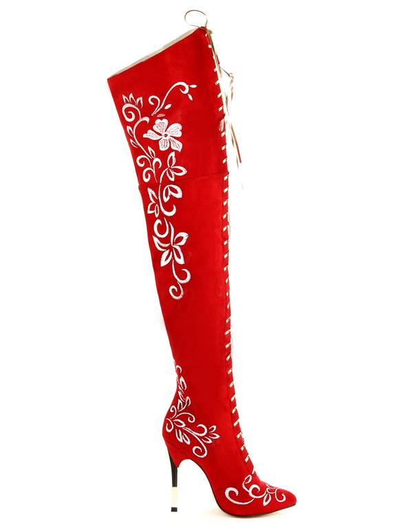 Botas rojas sobre la rodilla de de piel sintética Y4BusY