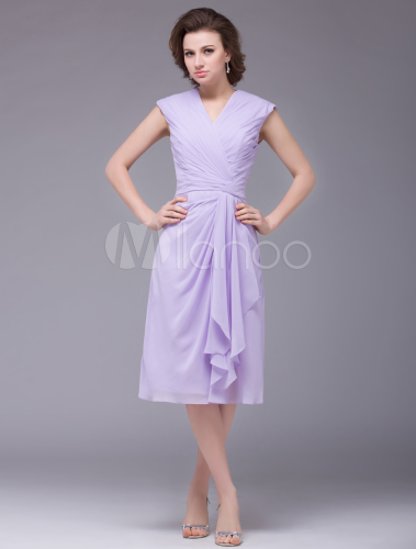 Light Purple V Neck Ruched Chiffon Mother Of The Bride