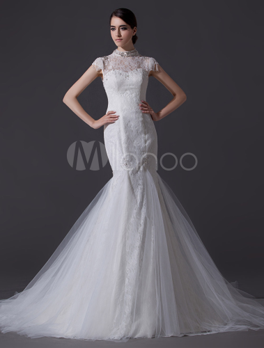 Noble Ivory High Collar Illusion Neck Mermaid Wedding