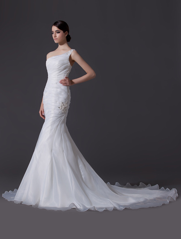 Awesome ... Ivory One Shoulder Ruched Organza Mermaid Wedding Dress No.2 ...