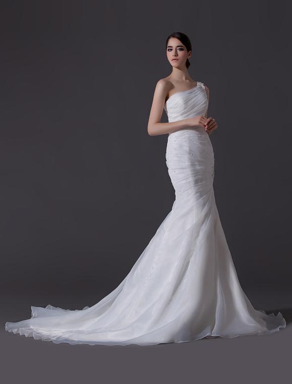 Ivory One-Shoulder Ruched Organza Mermaid Wedding Dress - Milanoo.com