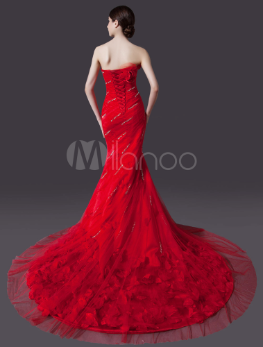 Red Wedding Dress with Train