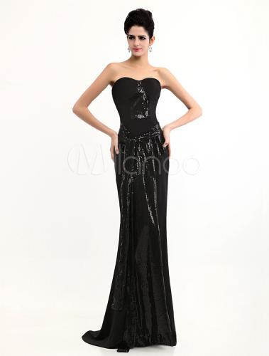 Grace Sheath Sash Black Strapless Sequined Gossip Girl Evening Dress ...