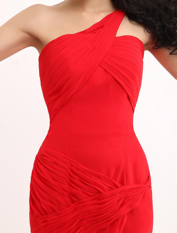 ccbbbe9fe ... Red Sofia Vergara One-Shoulder Mermaid Trumpet Chiffon Emmy Awards  Dress-No.7 ...