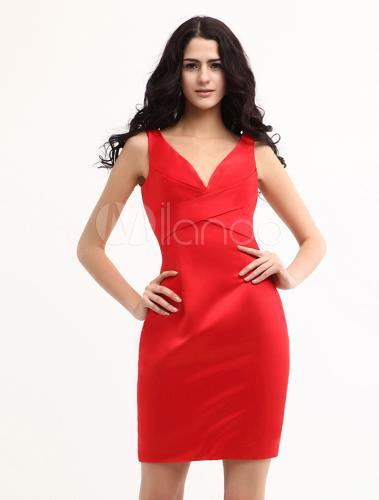 charmeuse mini kleid mit v ausschnitt in rot kleider f r hochzeitsg ste. Black Bedroom Furniture Sets. Home Design Ideas