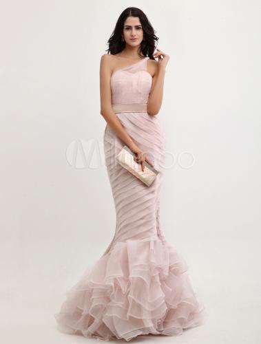 Peach Evening Dress Mermaid One Shoulder Organza Prom Dress Ruched ...