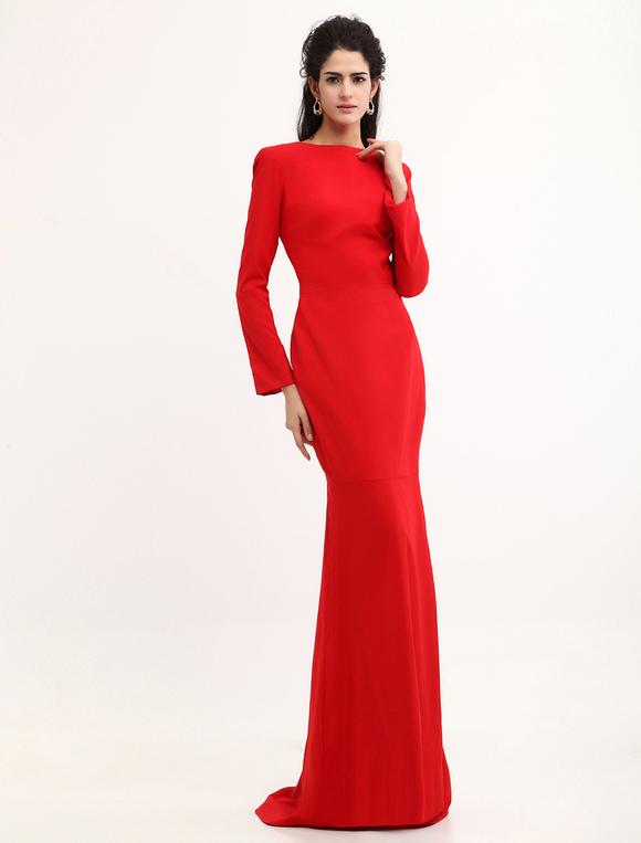 Robe En Satin Dos Nu Rouge Robe De Soiree Sirene Robes Pour Les Invites De Mariage