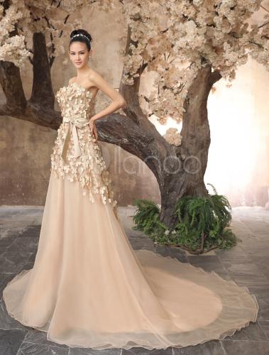 vestido de novia de tul de color champaña de cola barrida - milanoo