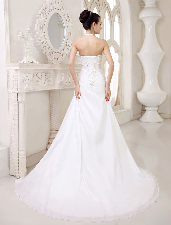 White Wedding Dresses Halter Backless Bridal Dress Rhinestones ...
