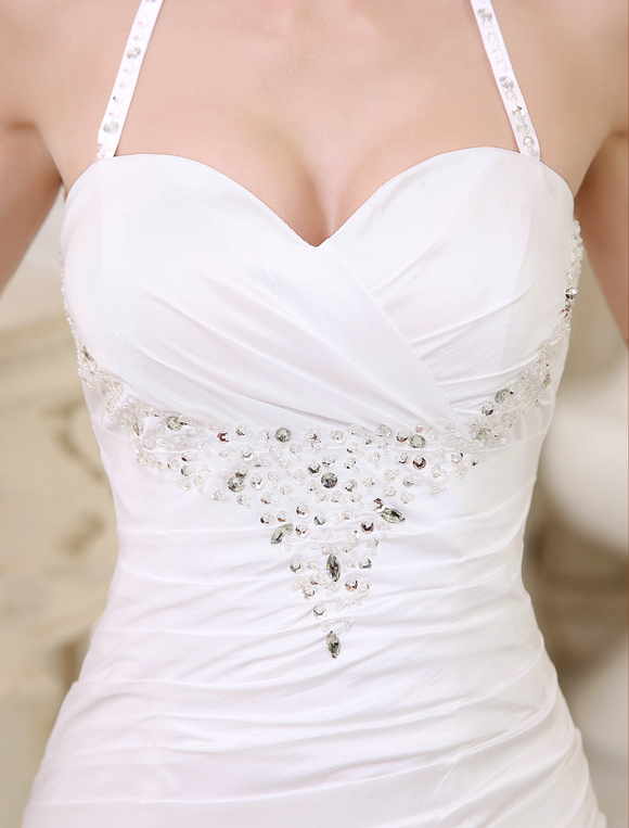White Wedding Dresses Halter Backless Bridal Dress Rhinestones Beading Side Draped Pleated Gown With Train