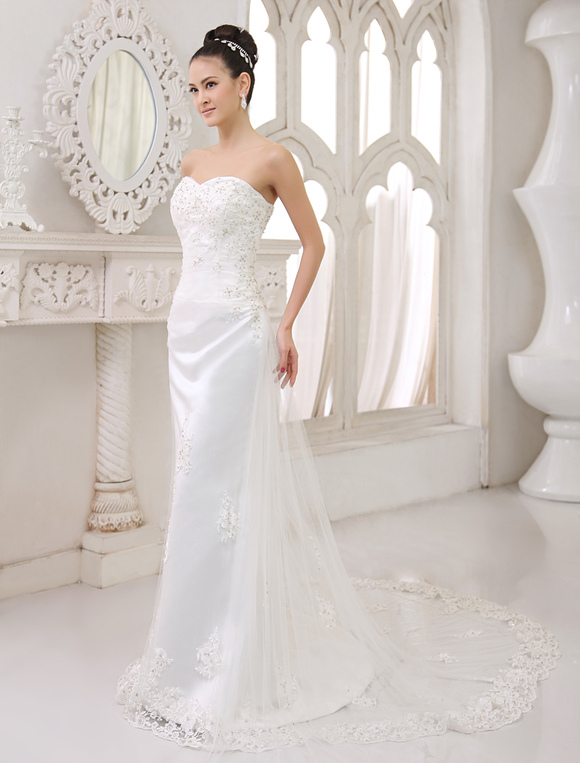 robes de mari e bretelles en satin dentelle applique robe