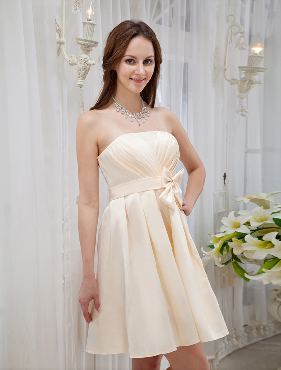 5da3d377ce2 ... Gold Champagne Bow Knee Length Strapless Satin Bridesmaid Dress-No.4 ...