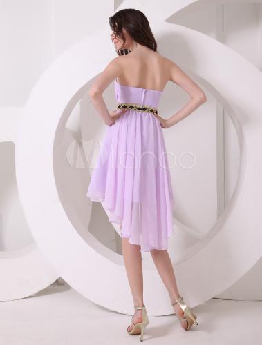 5925f5016 ... Vestido de cóctel de gasa de color lila con escote de corazón de estilo  dulce- ...