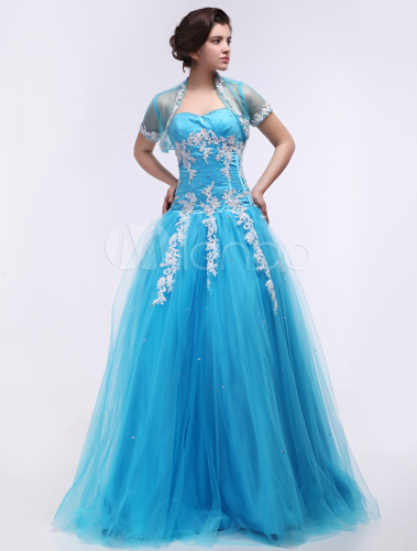 Tulle Quinceanera Dress Aqua Blue Ball Gown Sweetheart