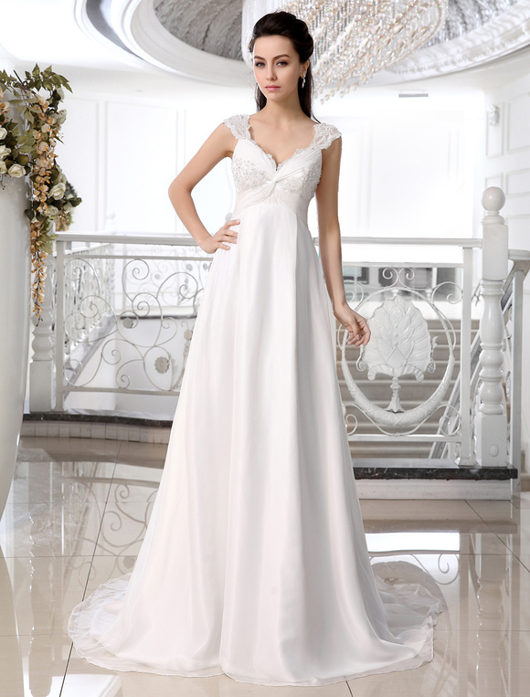 Ivory Chiffon Lace V-neck Empire Waist Wedding Dress - Milanoo.com