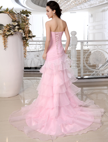 Vestido de novia rosado de satén y de organza estilo trompeta/sirena ...