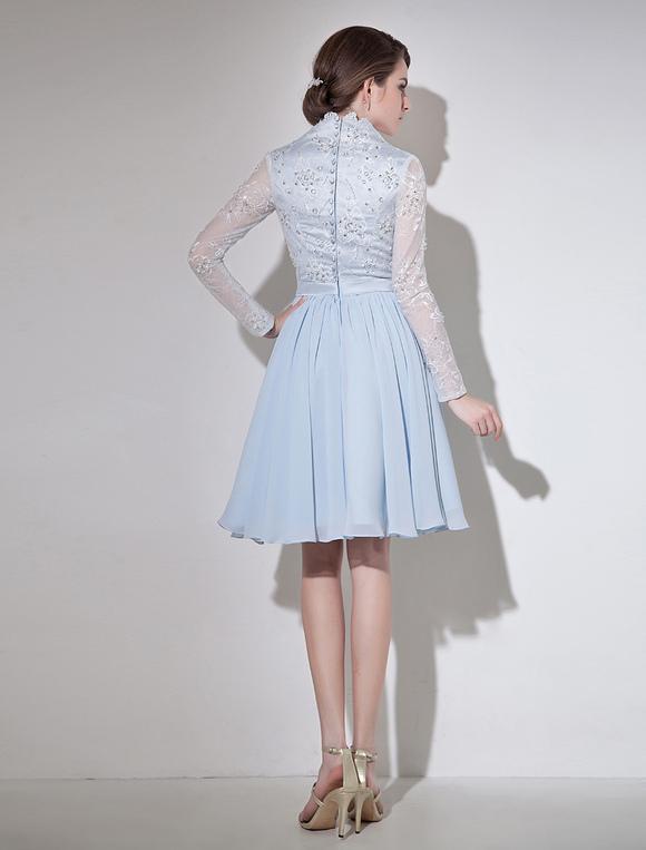 robe de cocktail a ligne en chiffon bleu ciel clair col v robes pour les invit s de mariage. Black Bedroom Furniture Sets. Home Design Ideas