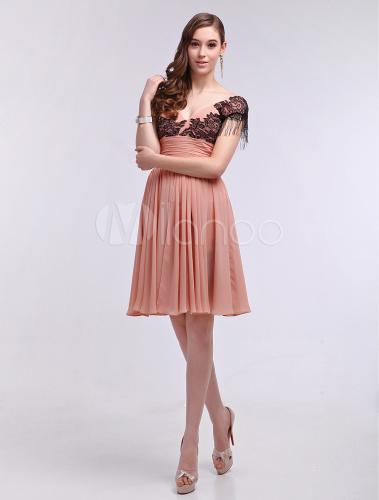 Vestiti Eleganti Al Ginocchio.Abito Da Cocktail Rosa Elegante In Chiffon Di Pizzo Al Ginocchio
