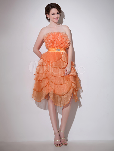 8995888987b1c ... パーティー ドレス ワンピース シンプル フォーマル お呼ばれ 謝恩会 卒業式 結婚式 二次会,オレンジ色 ...